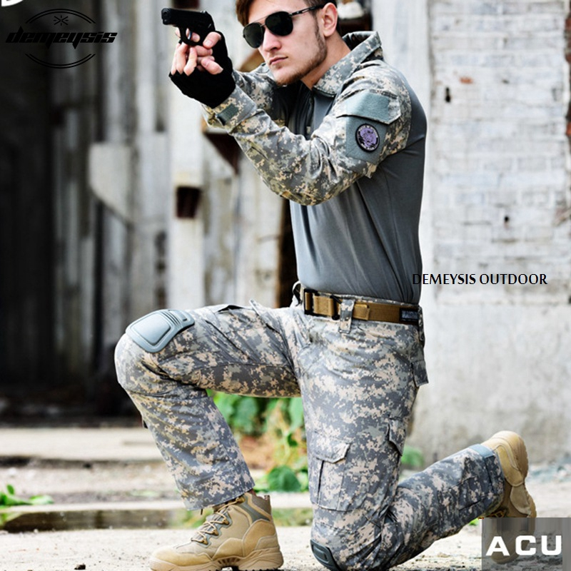 Army Military Uniform Airsoft Shooting Combat Suits Outdoor Hunting Suit Sets with Elbow Pad Knee Pads