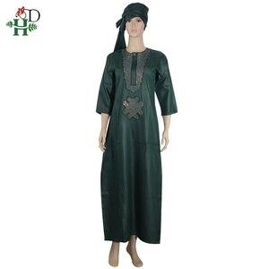 Image 5 - white african women dresses dashiki embroidery plus size ladies african dresses robe africaine maxi dress 3xl 4XL scarf hearwrap