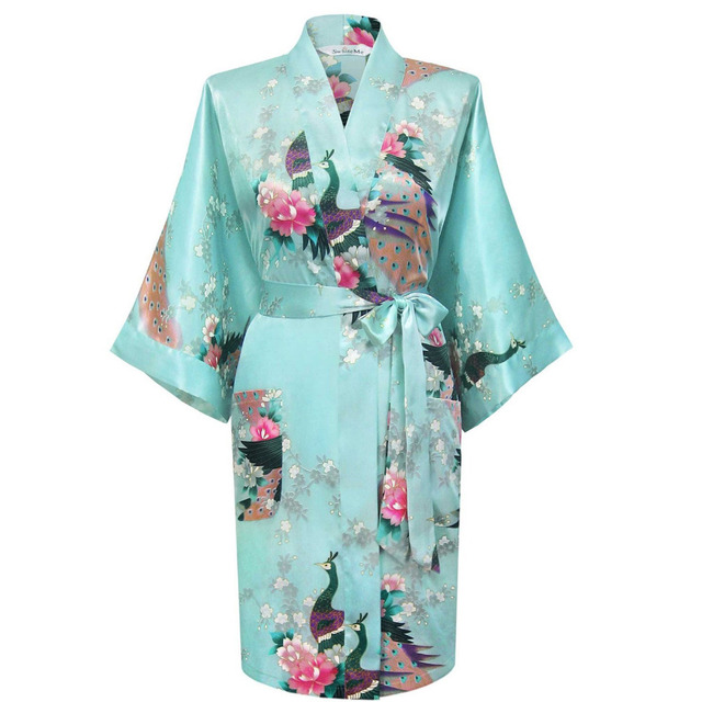 Sexy Wedding Bride Robe Gown Women's Silk Kimono Painted Kaftan Robe Gown Pajamas Nightgown With Belt,Peacock 20160603