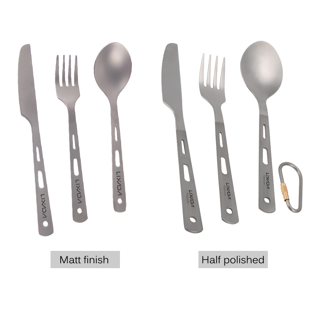 Image 4 - Lixada 3 Piece Cutlery Set Titanium Outdoor Camping Picnic Cutlery Spoon Cutter Fork with Carabiner Outdoor Tableware-in Outdoor Tablewares from Sports & Entertainment