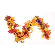 HOYVJOY 1.8M LED Rattan Window Decoration Autumn Maple Wreath Thanksgiving Display