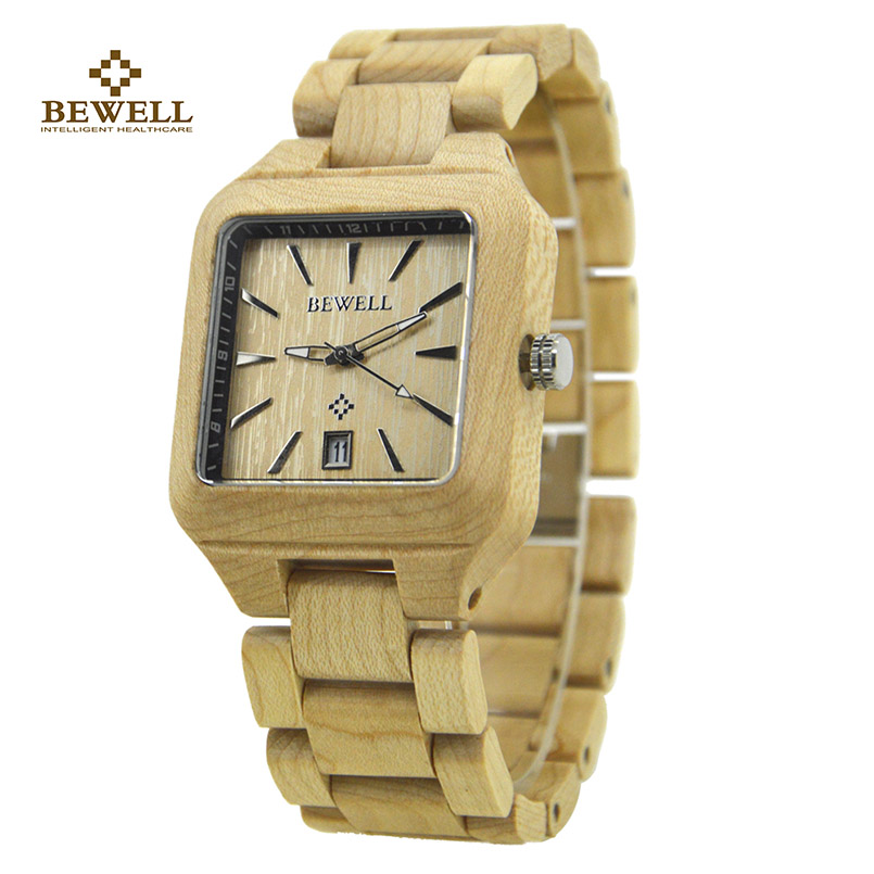 BEWELL Fahion Casual Wood Watches Square Dial Calendar Clock Lightweight for Male Quartz Watches Christmas Gift Your Friend 110A