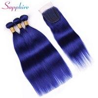 Сапфир прямые волосы Связки с закрытием пучки волос плетение с закрытием кружева бесплатная часть голубой цвет 3 Связки человеческих волос