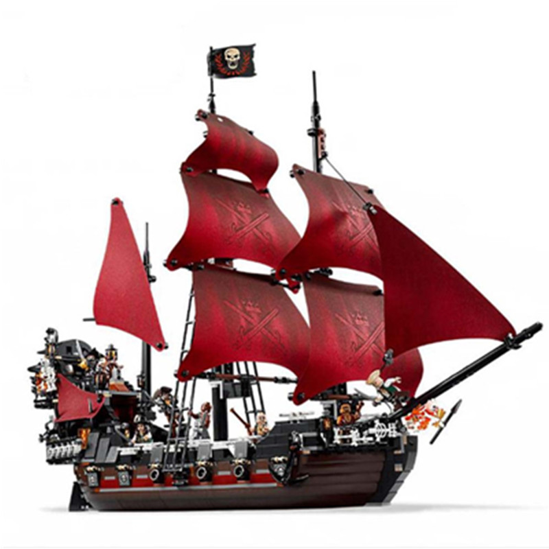 Diy Queen Anne's revenge Pirates of the Caribbean Building Blocks Set Compatible with Legoingly Toys For Children lepin 16009 caribbean blackbeard queen anne s revenge mini bricks set sale pirates of the building blocks toys for kids gift