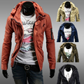 Fashion Men Jacket Slim Zipper Cardigan Double Collar Coats 2016 Solid Casual Male Outerwear Fitted Costume Brand Clothing JK29