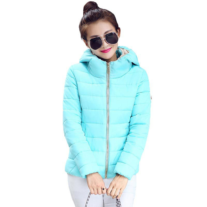 148d99f4b US $15.99 50% OFF|2018 Winter Fashion Jacket Women Hooded Parka Slim Cotton  Padded High Neck 6 Colors Cotton Jacket Coat Women tops Plus Size-in ...