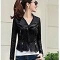 Mujer chaqueta de cuero negro de la motocicleta de LA PU pus tamaño corto femenino chaqueta de cuero negro Delgado de manga larga femenina de la chaqueta de cuero de la pu