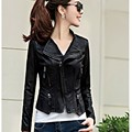 female leather jacket black motorcycle PU pus size short female leather jacket black Slim long sleeve female leather jacket pu