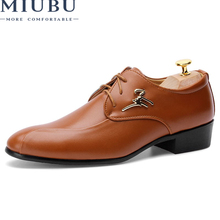 MIUBU 2019 Mens Dress Shoes Fashion Pointed Toe Men Oxfords Casual Breathable Lace-up Black Brown Business