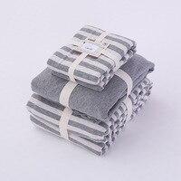 جودة 4 قطعة المجهزة ورقة غطاء لحاف ريش المخدة وسادة طقم سرير الشام 100% القطن جيرسي رمادي أبيض الشريط