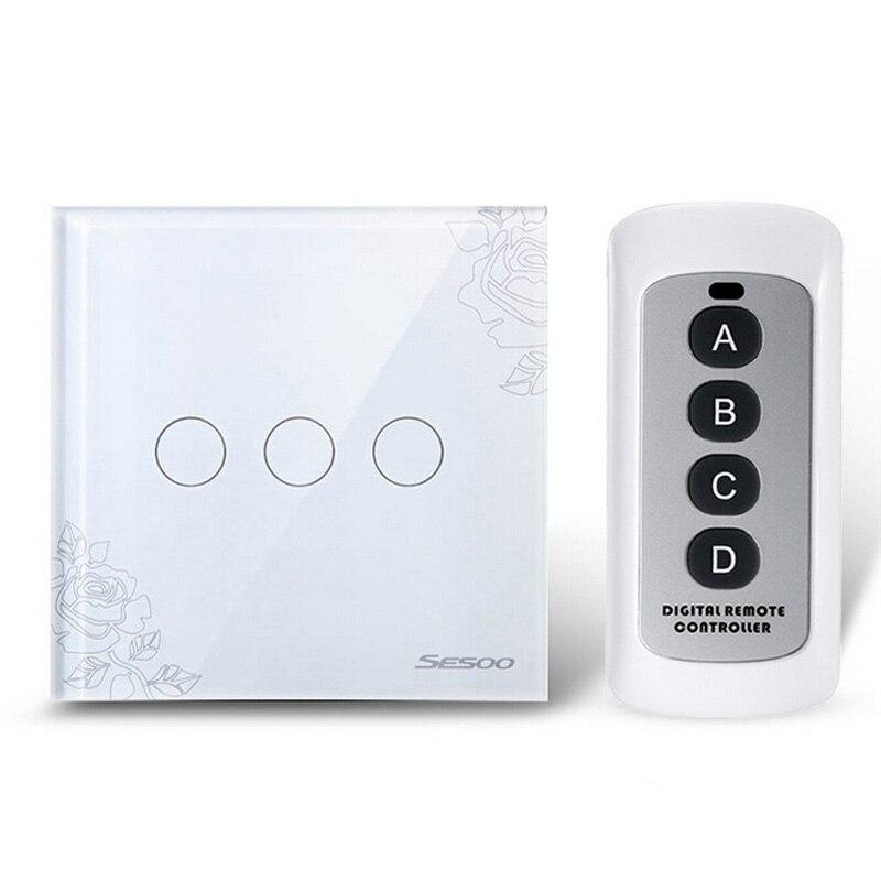 Belle Cristal Verre Panneau Sans Fil Télécommande Tactile Interrupteur, à distance Tactile Interrupteur de Lumière, mur Light Touch Commutateur Vente Chaude