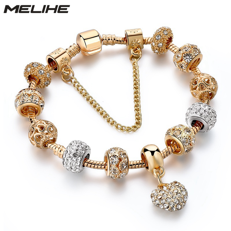 MELIHE Luxury Crystal Heart Charm Bracelets & Bangles Gold Color Bracelets For Women Jewellery Pulseira Feminina Sbr170020