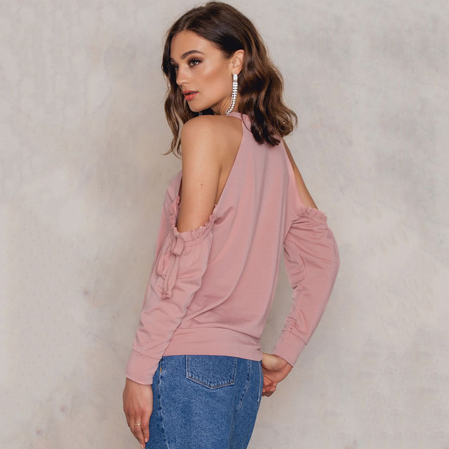 4adf39a567a7ca HDY Haoduoyi Women s Autumn Dusty Pink Ruffle Frill Cold Shoulder Top Slim  Fit Long Sleeve T-shirt Casual O-Neck Tees Tops