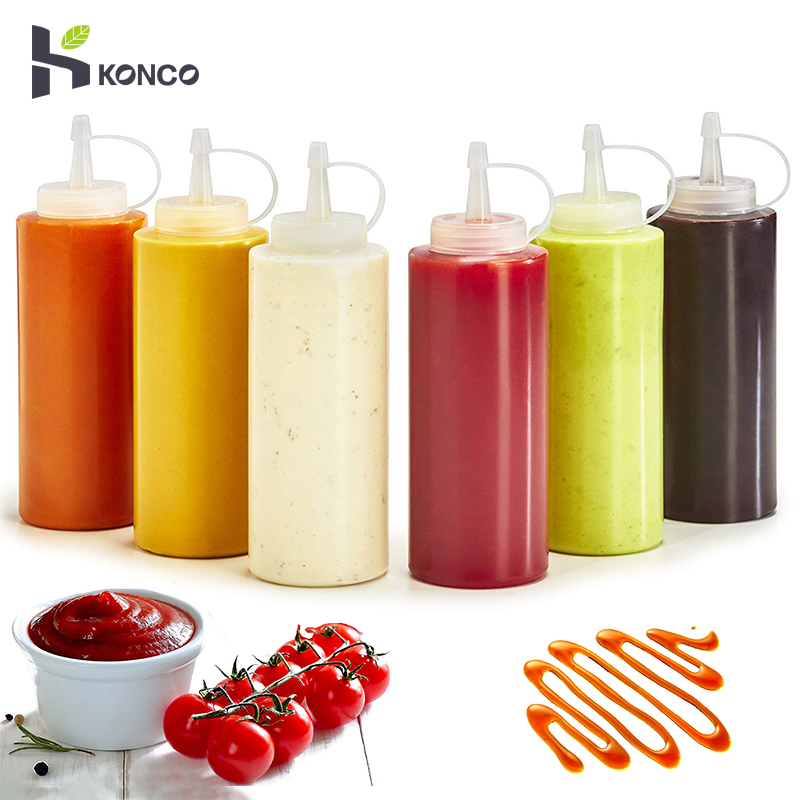 KONCO Squeeze Squirt Condiment Bottles with Twist On Cap Lids  Ketchup Mustard Mayo Hot Sauces Olive Oil Bottles Kitchen Gadget 1