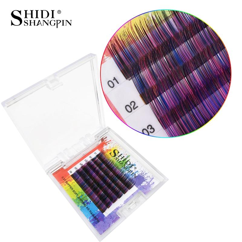 SHIDISHANGPIN Individual False Eyelashes Eyelash Extension Mix Lengths 1 box natural Rainbow Color 3D mink lashes 10-11mm