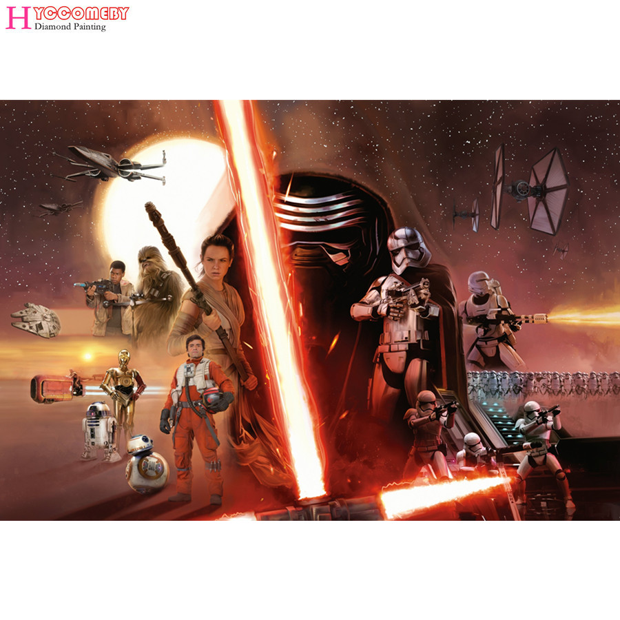 2018 wholesale,DIY Diamond mosaic Star Wars Movie handmade Diamond Paintings Cross Stitch Kits Diamond Embroidery New Patterns
