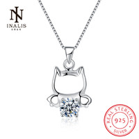 INALIS Fine Jewelry Cute Cat Pendant 925 Sterling Silver Necklace Fashion Accessories Wedding Party For Women