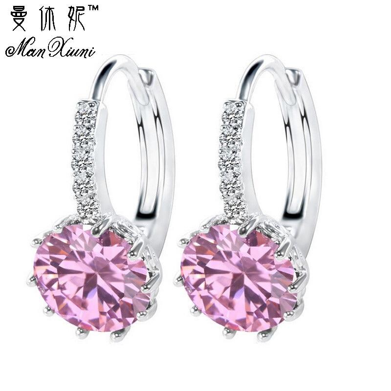 Manxiuni Women Stud Earrings with Stones 2016 Silver Black Jewelry Blue Crystal  Earring Pink Purple Brincos