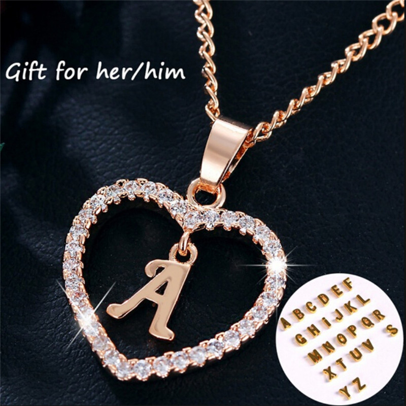 Romad Initial Pendant Necklace For Women Long Necklaces 2018 New Love Heart Letter Alphabet Charm Ladies Jewelry Ethnic Chain G3