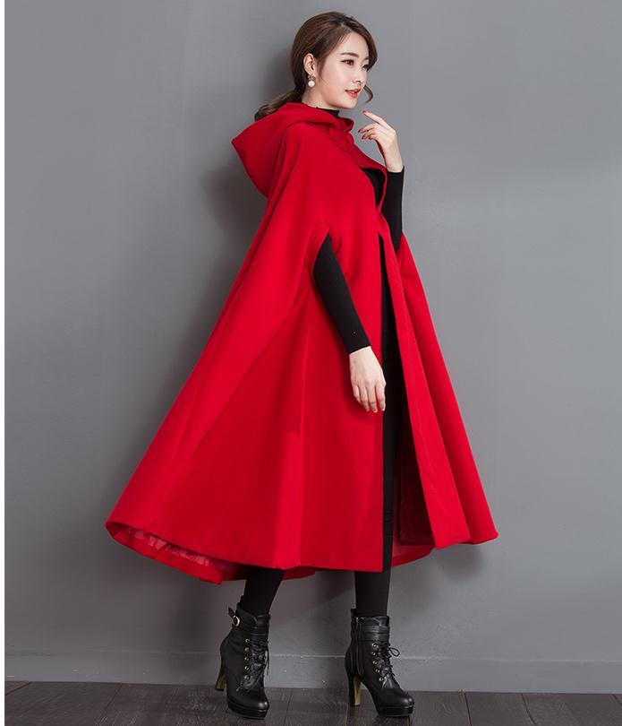 743b494b0 Mulheres Poncho Casaco De Inverno de Lã Capa Vermelha Com Capuz Estilo  Vintage (Comprimento Total 152 cm)