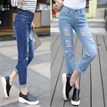 2016 new Large size women jeans eighth hole jeans woman boyfriend jeans for women ripped jeans for women free shipping