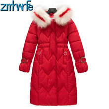 2019 Womens Red Parkas Casual Outwear Big Fur Hooded Long Sleeve Coat Winter Wave Cut Down Cotton Jackets and Coats