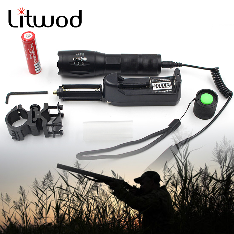 Z50 CREE XM-L T6 led tactical flashlight 5000Lm zoomable torch for Hunting +battery+Remote Switch+Charger+Gun Mount 3800 lumens cree xm l t6 5 modes led tactical flashlight torch waterproof lamp torch hunting flash light lantern for camping z93
