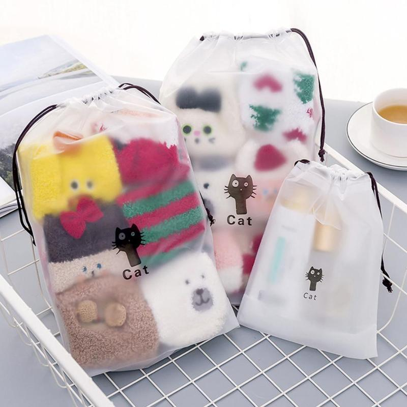 Dropshipping Cute Cat Transparent Cosmetic Bag Travel Makeup Case Women String Make Up Organizer Storage Pouch