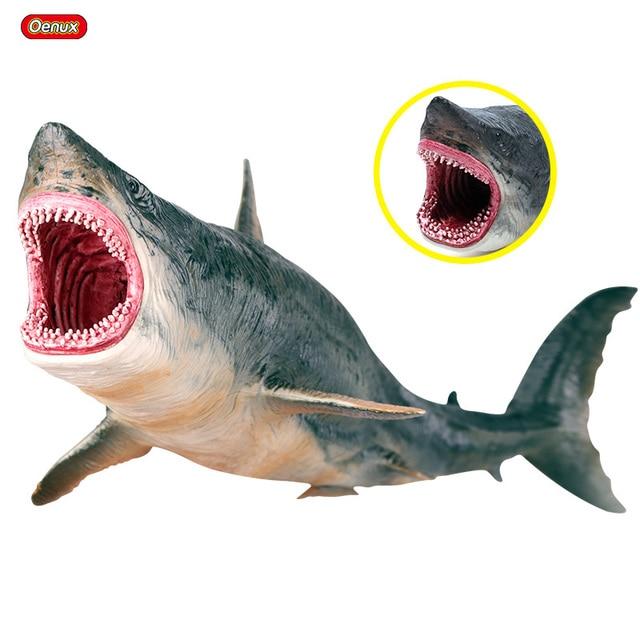Oenux Meer Leben Marine Tiere Whale Shark Megalodon Modell Action Figure PVC Ozean Tier Pädagogisches Lernen Spielzeug Für Kind Geschenk