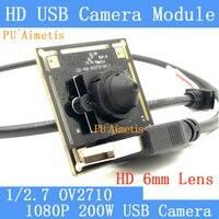 البسيطة مراقبة كاميرا 2MP 1/2. 7 6 مللي متر 1080 P كامل Hd MJPEG 30fps عالية السرعة OV2710 CCTV لينكس UVC وحدة كاميرا بمنفذ USB
