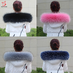 Image 1 - Natural Fur Collar Shawl Sweater Coat Collar Scarves Luxury Fur Raccoon Neck Cap Winter Real Fur Collar And Scarves women scarf
