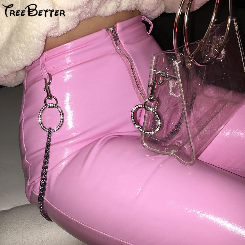 Slim Leather PU Pink Pants Ladies Zipper Candy Micro Horn High Waist Slim Body High Tailored Pants