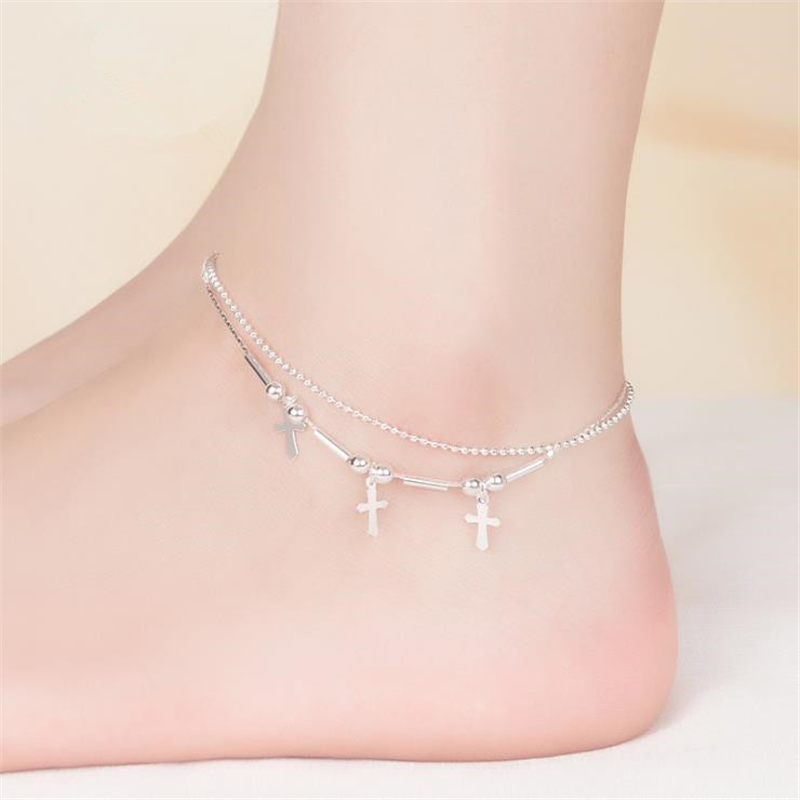KOFSAC 2018 Hot Sale Fashion Round Beads 925 Sterling Silver Ankle Chain Charm Cross Anklets For Women Jewelry Girl Best Gifts