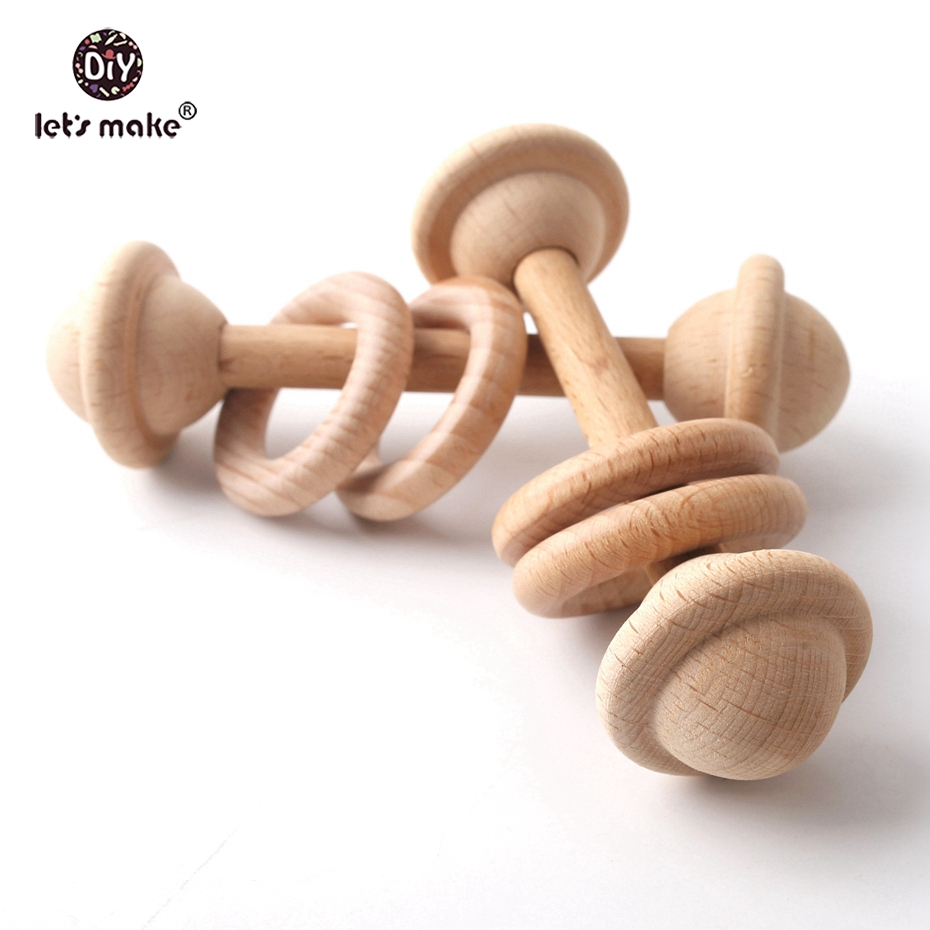 Let's Make 5pcs BPA Free Natural Beech Wooden Teething Rings Baby Toys Tiny Rod Baby Shower Gift Montessori Play Gym Rattles