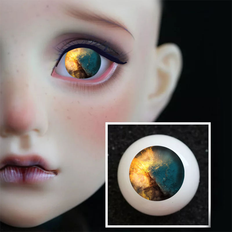 Nice 14mm BlueIris with stripes Glass BJD Eyes for Ball Joint Dollfie