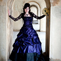 Gothic Purple Wedding Dress Offbeat Alternative lace French Pickups Court Train with black Stunning jacket robe de mariage
