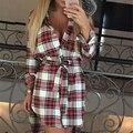 Four Seasons Старинные Белый Черный Плед Печати Туника Shirt Dress женщины Сексуальная Рукавом Работа Офис Зимние Платья Большой Размер Халат femme