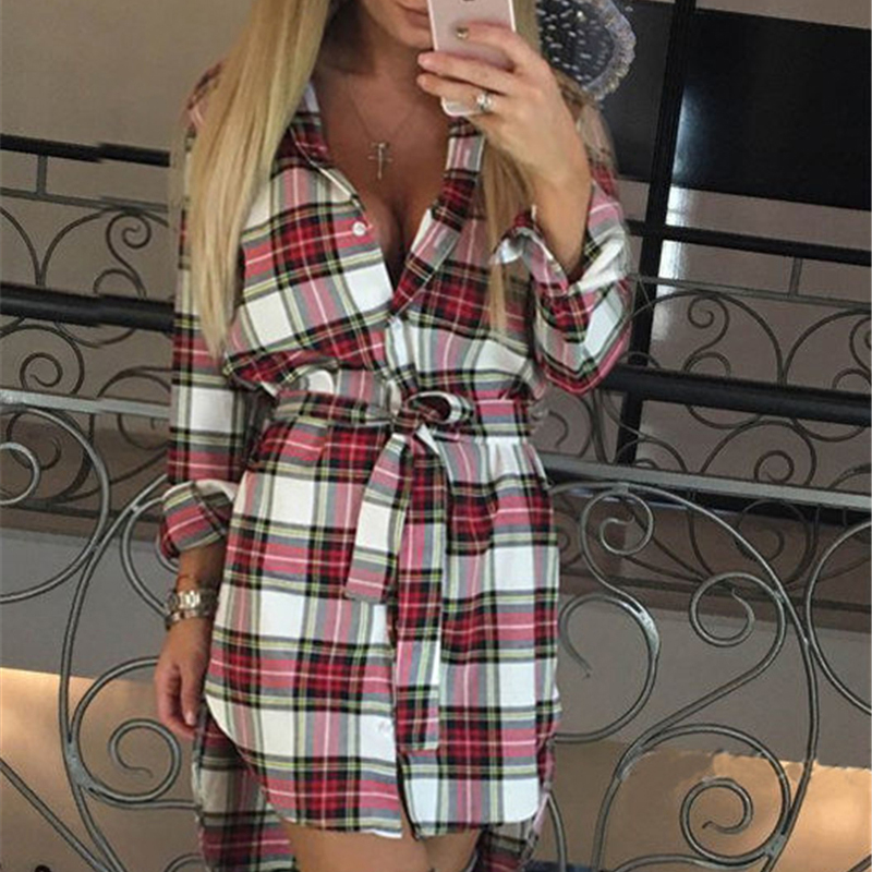 Four Seasons Vintage White Black Plaid Print Tunic Shirt Dress Women Sexy Sleeve Work Office Winter Dresses Big Size Robe femme