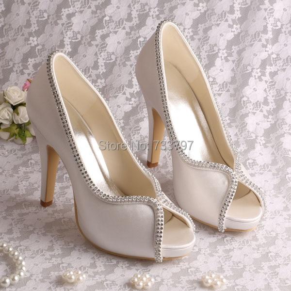 Bridal Dress Silver Heels Platform Pumps Open Toe Heels Wedding Custom Handmade