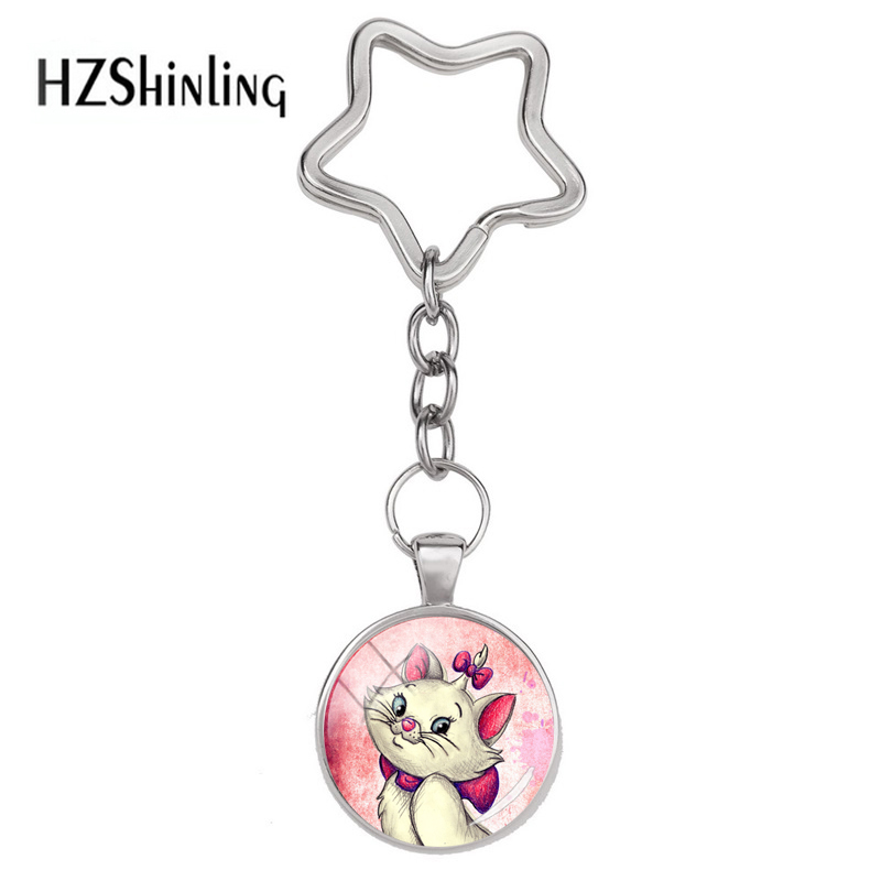 2018 New Fashion  Marie  Cartoon Pattern Star Keychain Glass Pendant The Aristocats Keyring For Girls Anime Jewelry