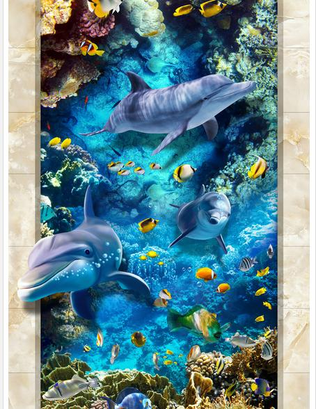 ФОТО Custom photo Waterproof floor wallpaper Dolphins and sea world floor  3d mural PVC wallpaper self-adhesion floor wallpaer