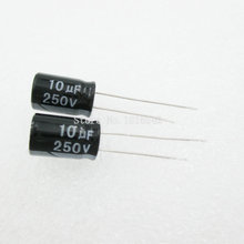 20 шт./лот 10 мкФ 250 В Алюминий электролитический конденсатор 8*12 электролитический конденсатор 250 В 10 мкФ