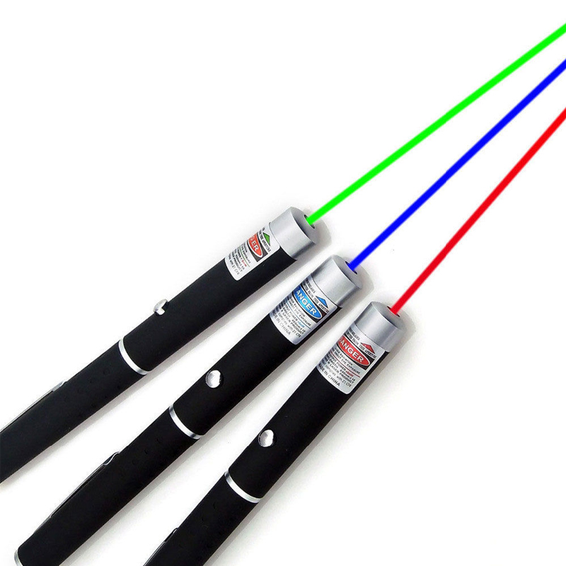 Red Green Blue Laser Pointer Dot Laser Teaching Pen Play With Cat 5MW Laser Light Adjustable Burning Match With 2 x AAA Battery