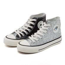 YeddaMavis Shoes Bling Sequin High Help Canvas Women Sneakers New Black Lace Up Womens Woman Trainers