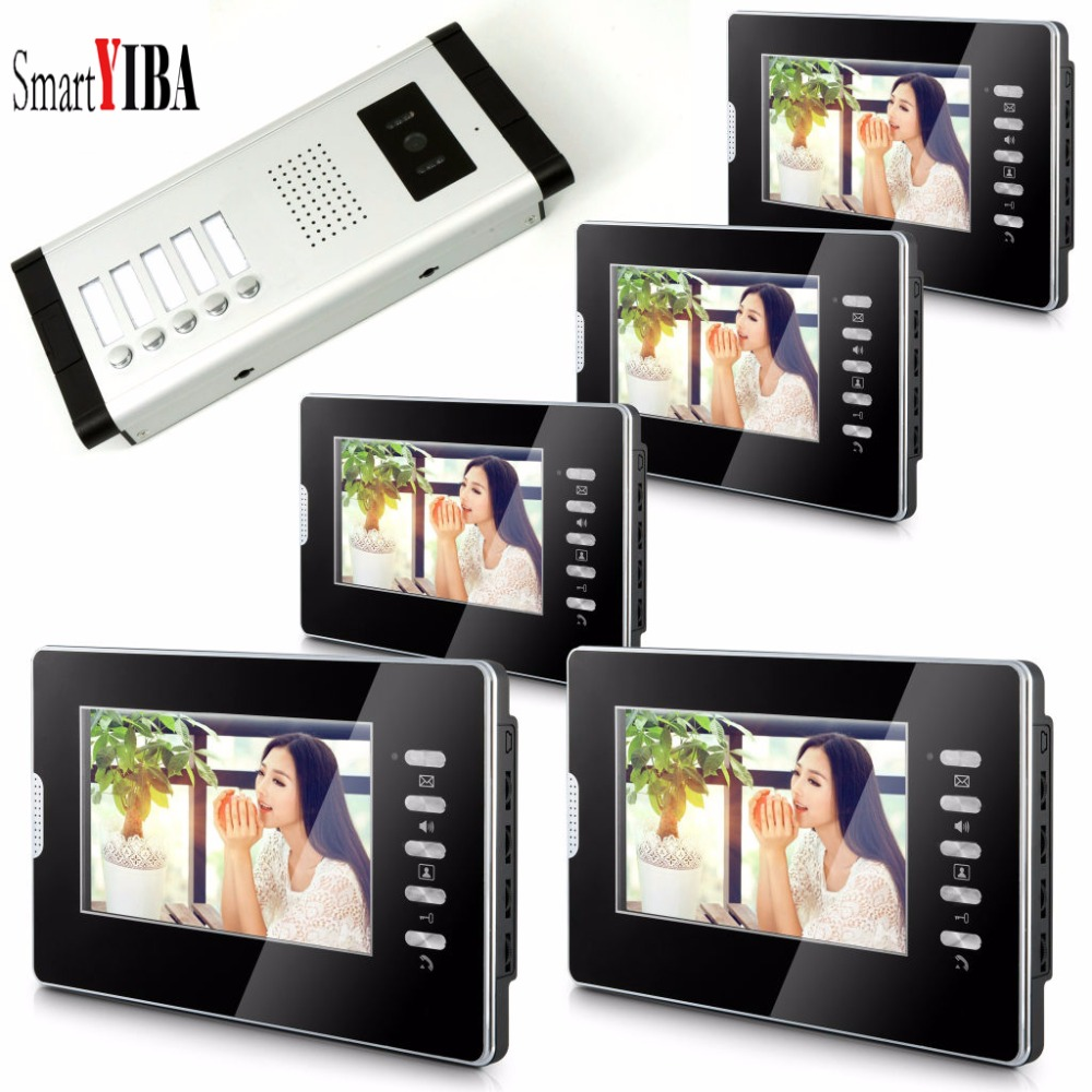 SmartYIBA 7''Inch Monitor Wired Door Bell Video Intercom Door Phone Door Visual Phone System Outdoor Camera For 5 Apartment