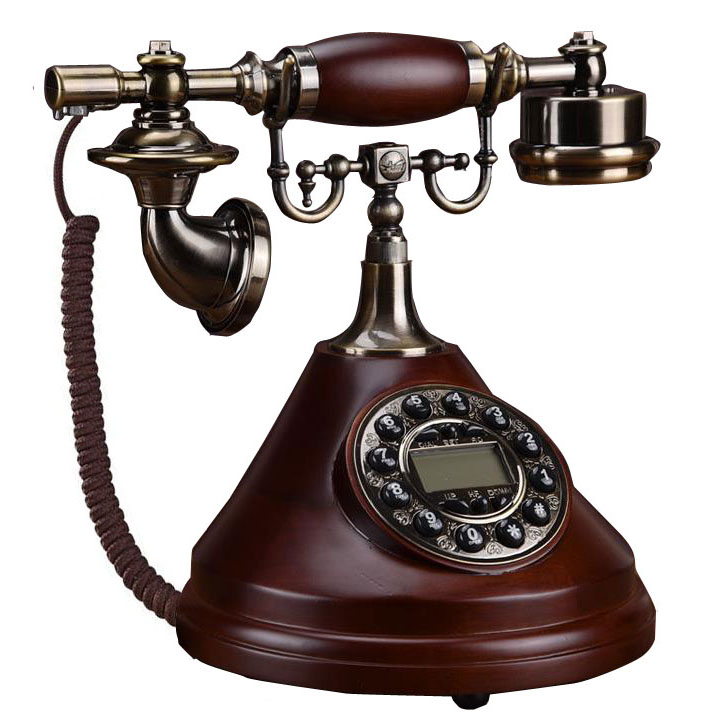 Antique Reel Wood fixed Phone Landline Telephone Vintage Home office living room Fitted Landline Phone Telefone antika cone