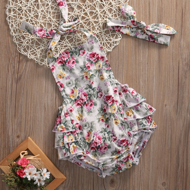 e8ca61849 2pcs Set Infant Baby Girls Sleeveless Floral Ruffle Backless Halter Romper  Jumpsuit+Headband Summer Baby Clothing Outfits