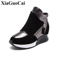 Genuine Leather Shoes Women Flat Platform Sneakers Thicken Fur Warm Design Student Style Height Increasing Flat Cotton Footwear