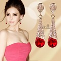 New Arrival Fashion Alloy Gold Plated Statement Austria Red Zircon Crystal Long Earrings Water Drop Elegant Earring A7892