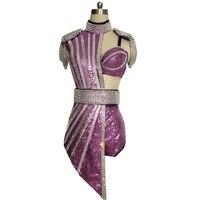 Новое платье со стразами и блестками для женщин, Dj, певица, ночной клуб, джаз, танцевальный костюм для женщин, сценическое концертное трико, с